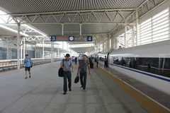 A common day and travellers pending in Beijing South Railway station Stock Photography