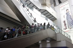 A common day and travellers upstair in Beijing South Railway station Royalty Free Stock Photography