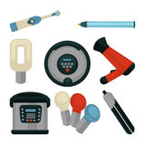 Common electrical home appliances  flat illustrations set Royalty Free Stock Images