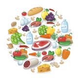 Common everyday food products background.. Cheese and fish, sausages and milk, tomatoes vector  illustration Royalty Free Stock Images