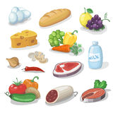 Common everyday food products. Cartoon icons set provision, cheese and fish, sausage, milk, bread vector illustration vector illustration