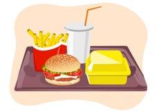 Common fast food snacks on tray. Illustration of common fast food snacks on tray stock illustration
