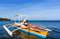 Outrigger canoe called bangka in Camiguin island,  Stock Photo