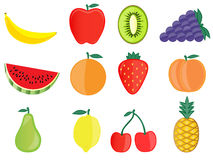 Common fruits vector illustration Royalty Free Stock Photos