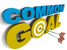 Common goal. Words on white background with o in the goal replaced by target circle with arrows hitting it in center Stock Photo