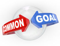 Common Goal Two Arrows Meet. Two red and blue arrows meet around a sphere with words Common Goals representing mutual interests and same needs and desires vector illustration