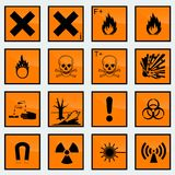 16 Common hazard sign vector illustration. Common hazard signs for different products Royalty Free Stock Images