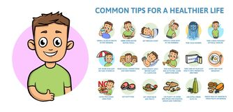 Common healthy lifestyle tips. Infographics poster with text and character. Flat vector illustration, horizontal. Common healthy lifestyle tips. Infographics vector illustration