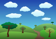 Common hills and trees landscape Royalty Free Stock Photo