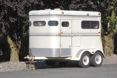 Common Horse Trailer. A trailer used for transporting one adult horse Stock Photos