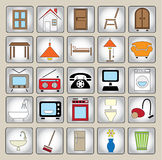 Common house appliances - color icon set Royalty Free Stock Photo