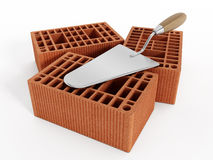 Common house bricks and hand trowel Stock Photography