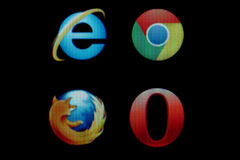 Common internet browsers icons on monitor Royalty Free Stock Image