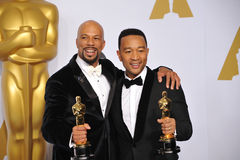 Common & John Legend. LOS ANGELES, CA - FEBRUARY 22, 2015: Common & John Legend (Lonnie Lynn & John Stephens) at the 87th Annual Academy Awards at the Dolby stock images