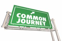 Common Journey Road Sign Shared Transportation Adventure 3d Illu. Stration Stock Photography
