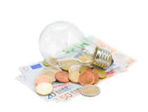 Common lamp bulb on euro money Stock Photography