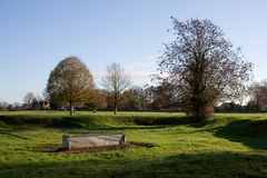 Common Land. Minchinhampton common in Gloucestershire with drinking trough royalty free stock images