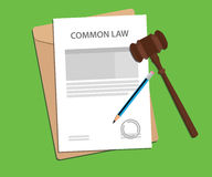Common law concept illustration with gavel and pencil Royalty Free Stock Photos