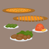 Common main and side dishes, pide, dolma, kisir and kofte. Turkish pizza, lentil salad, cutlet and stuffed grape leaves. Tradition Royalty Free Stock Photography