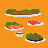Common main and side dishes, Turkish lentil cutlet, stuffed eggplant, tomato and kebab. Traditional food of Turkish cuisine. vector illustration
