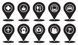 Common Markers Icons on Travellers Map. Isolated vector Icon set on Map Markers for Travel and Transport Services in black and white Royalty Free Stock Photos