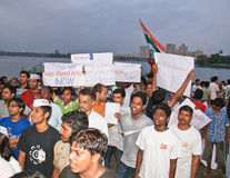 Common men protesting for Jan Lokpal Bill in India. People gathering after a protest march with placards and messages demanding for a strong Ant-Corruption Bill royalty free stock photos