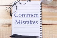 Common Mistakes, Motivational Words Quotes Concept stock photography
