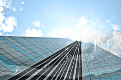 Common modern business skyscrapers, high-rise buildings, architecture raising to the sky, sun. Concepts stock image