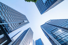 Common modern business skyscrapers, high-rise buildings, architecture raising to the sky Royalty Free Stock Images