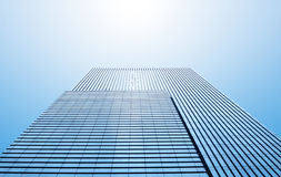 Common modern business skyscrapers, high-rise buildings, architecture raising to the sky, sun. stock images