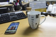 Common office desk. Routine in the office, view of the personal desk Royalty Free Stock Photography