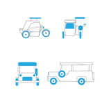 Common Public Transportation in the Philippines. Jeepney, Tricycle Editable Icons royalty free illustration