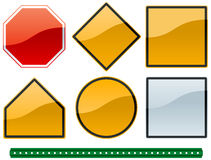 Common road signs 1. A set of common road sign shapes and metallic colors with a sign post Vector Illustration