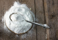 Common salt in a straw round bowl. top view. copy spase Stock Photo