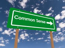 Common sense. Green highway style sign with text 'Common Sense' in white letters and a bold white arrow giving direction, background of blue sky and clouds vector illustration