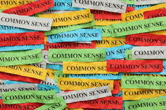 Common Sense. Pile of colorful paper notes with word Common Sense Stock Images