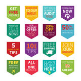 Common site ad vector bookmarks set in flat style.  Stock Images