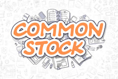 Common Stock - Doodle Orange Inscription. Business Concept. Royalty Free Stock Images