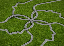 Common Strategy. Business concept with a group of roads and highways in the shape of a human head coming together and merging into a connected network of vector illustration