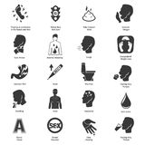 Common symptoms vector icons set Royalty Free Stock Photo