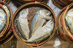 Common thai mackerel fishes in a woven bamboo basket at a market in Bangkok royalty free stock photography