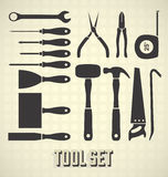 Common Tool Collection. Set of  silhouettes of common construction tools Stock Photography