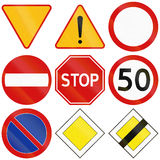 Common Traffic Signs in Poland. Collection of the most common traffic signs in Poland, including yield, stop, general dangers, no entry, and priority Stock Image