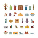Common vector interior objects set in flat style Stock Photo