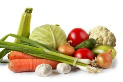 Common vegetables. Still life isolated over white background Royalty Free Stock Photos