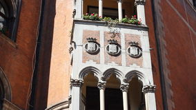 Common window balcony with flowers architecture in stock video