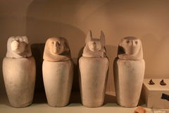 Commonly carved from limestone or made of pottery,Canopic Jars,Institue Of Art And History,Albany,New York,2016. Various Canopic jars, used by the ancient Stock Photos