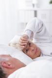 Commonly shared bed is also commonly shared problems Stock Photos