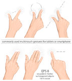 Commonly used multi-touch gestures. Vector set of commonly used multi-touch gestures for tablets or smart-phone Stock Photography