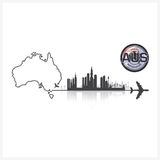 Commonwealth Of Australia Skyline Buildings Silhouette Backgroun. D Vector Design Template Royalty Free Stock Images